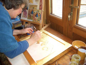 placing a base coat of yellow ochre