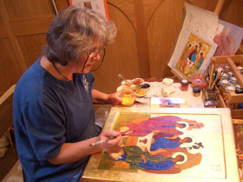 Karen working on the icon for Holy Trinity