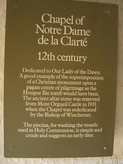 Placque detailing the history of the Chapel